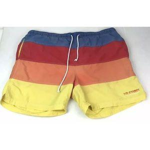 Vtg Tommy Hilfiger Color Lined Swim Trunks Shorts